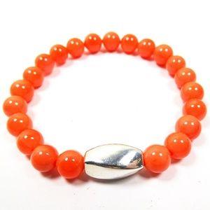 SIMON SEBBAG Coral Calcite Beads Sterling Bracelet